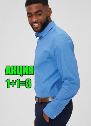 😉1+1=3 фирменная синяя мужская рубашка сорочка длинный рукав marks&spencer, размер 44 - 46