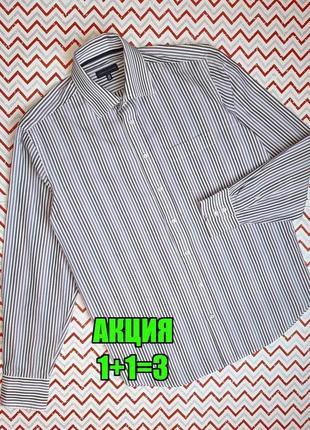 😉1+1=3 белая рубашка сорочка в полоску с длинным рукавом tommy hilfiger, размер 44 - 46