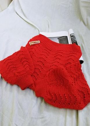 ❥вязаный свитер с перфорацией и прямой горловиной