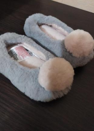 Шикарные мягкие плюшевые теплые детские комнатные домашние тапочки тапки на девочку