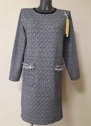 Стильное,качественное,фактурное,мега-теплое,25%кашемира,5%шерсти,платье в стиле шанель