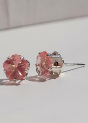 Серебряные серьги-гвоздики с розовым кварцем, серебро 952 проба. арт. 100/9