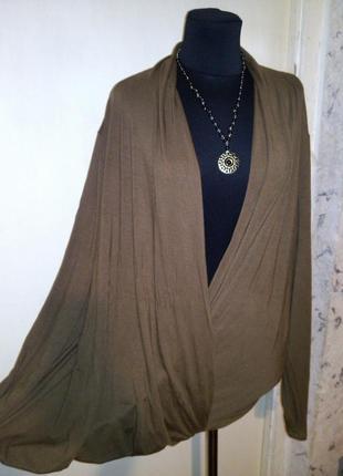 Трикотажная,натуральная-стрейч,блузка на запах,большого размера,la redoute
