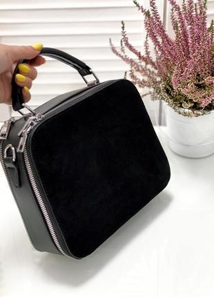 Чорна замшева сумка сундучок