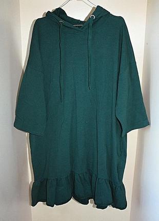 Зеленое спортивное платье-худи батал большой размер оверсайз oversize reserved (к000)