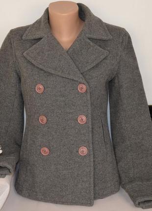 Брендовое серое шерстяное демисезонное пальто полупальто с карманами boden
