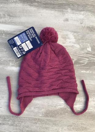 Вязаная шапочка на флисе