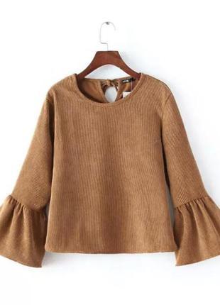 Нежная атласная блуза горчичного цвета zara