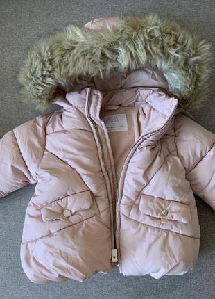 Пудрова куртка на осінь/розовая курточка на осень zara 6-9 месяцев