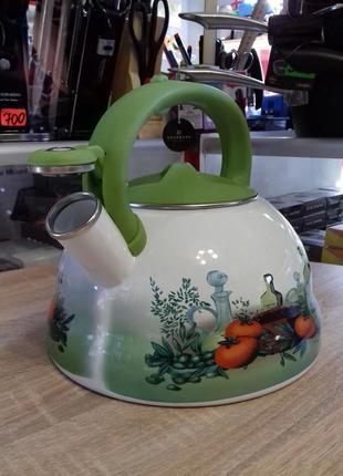 Чайник эмалированный со свистком edenberg