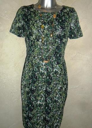 Женственное зеленое приталенное платье m-l