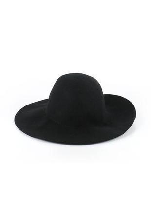 Черная флоппи-шляпа h&m из 100% натуральной шерсти