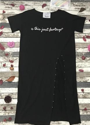 Платье-футболка со вставкой из сеточки