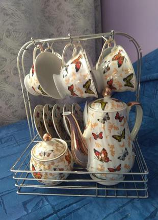 """Новий чайно-кофейний сервіз """"метелики"""" на 6 персон"""