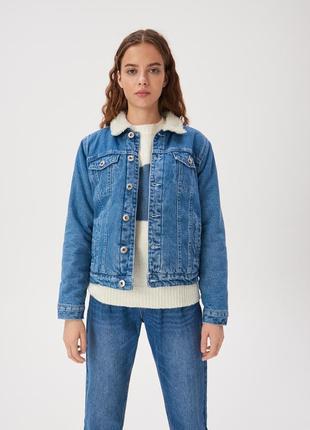 Джинсовая куртка на меху шерпа