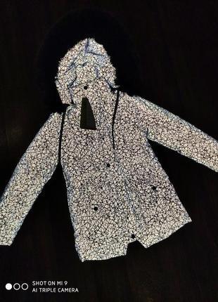 Зимняя удлиненная рефлективная куртка/ парка светоотражающая/зимнее пальто унисекс