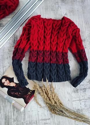 Шикарный вязаный свитер с косами шерстяной теплый