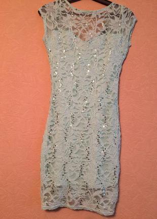 Нарядне випускне чи урочисте плаття сукня бренду jane norman гіпюр мереживо паєтки бірюза