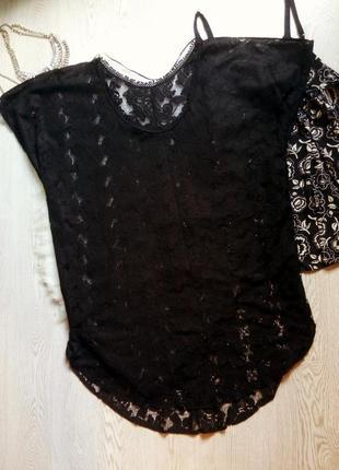 Длинная черная ажурная туника вышивка цветочная гипюр оверсайз платье пляжное батал