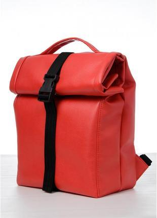Рюкзак mini roll червоний жіночий з якісної екошкіри