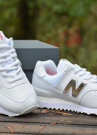 Оригинал new balance! шикарные белые кожаные кроссовки 574 ml574sox нью беланс