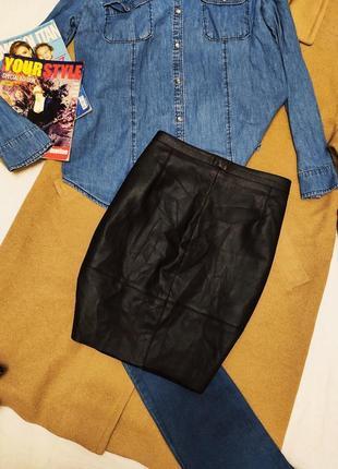 Cubus as юбка чёрная эко кожа короткая