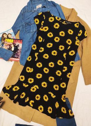 Платье прямое свободное чёрное с подсолнухами с воланом дороти перкинс