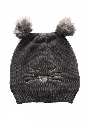 Детская двойная шапочка с мордашкой и двумя помпонами, takko fashion, 8-15 лет