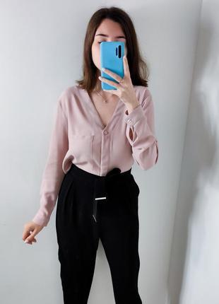 Женская розовая пудровая блуза рубашка