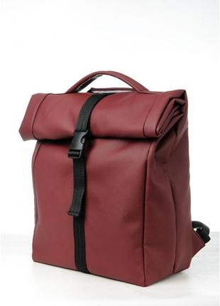 Рюкзак mini roll жіночий бордо екошкіра