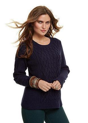 Теплый вязанный свитер,-пуловер 10% шерсти, р. 48 евро=54-56