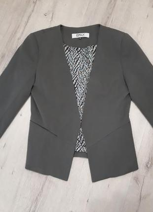 Пиджак жакет женский серый only размер м рукав 3/4