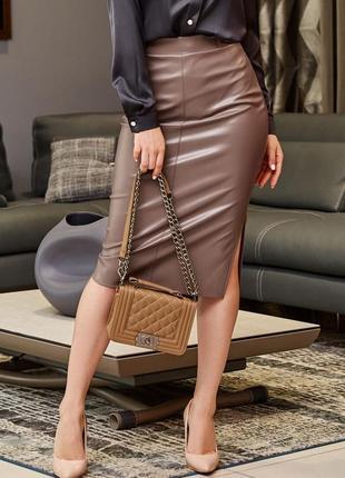 Женская коричневая юбка-карандаш из экокожи с высокой посадкой (1612 svtt)