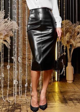 Женская черная юбка-карандаш из экокожи с высокой посадкой (1612 svtt)