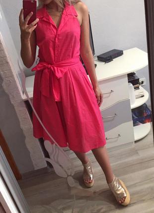 Потрясающее коралловое пышное платье - рубашка клёш orsay , сарафан коттон