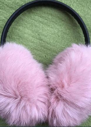 Меховые наушники ушки кролик