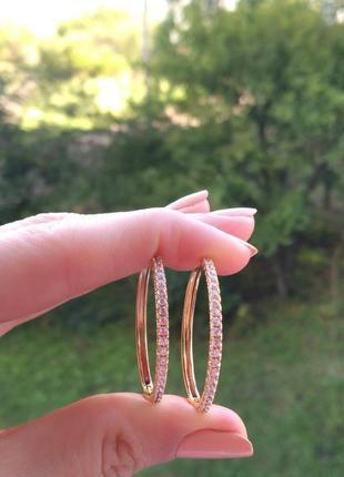 Серьги кольца 3 см., с дорожкой фианитов .