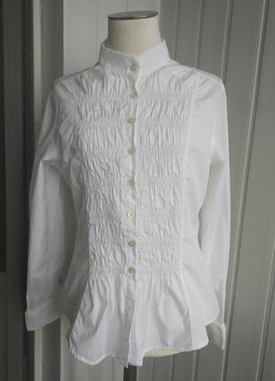 Рубашка белая marco'poloe, 38, ворооник -стойка, приталенная