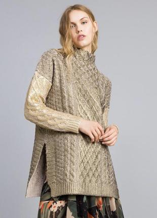 Оригинал, длинная трикотажная ламинированная кофта свитер туника