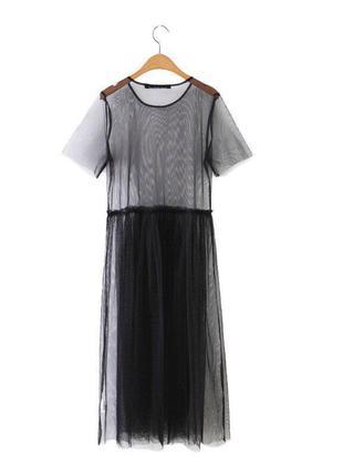 Платье футболка сетка прозрачная длинная