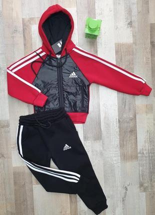 Утеплённый спортивный костюм с плащевкой на флисе adidas
