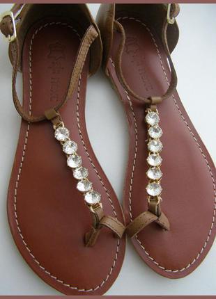 Роскошные кожаные босоножки сандалии -100% натуральная кожа + камни -новые- 36 – next