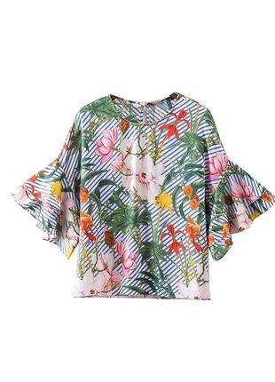 Рубашка футболка блуза блузка кофта футболка с цветочным принтом в цветы