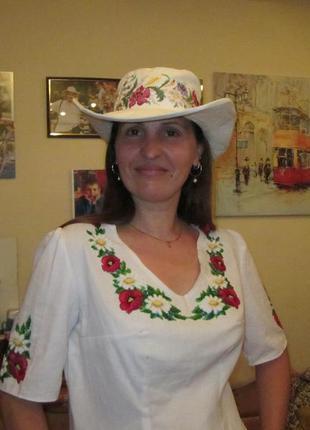 Вышиванка шляпа полевые цветы, вышивка крестик лен