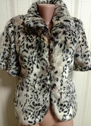 Крутая жилетка рукавка в леопардовый принт