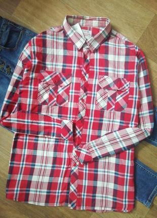 Стильная рубашка в клетку, сорочка, блузка, оверсайз, бойфренд, с карманом