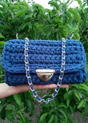 Hand-made сумка клатч из трикотажной пряжи вязаная синяя цвет индиго