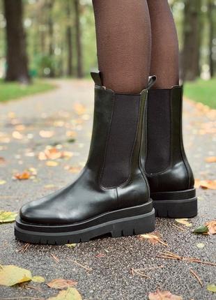 Женские кожаные осенние 🍂 ботинки/сапоги/ботильоны bottega veneta черного цвета 😍