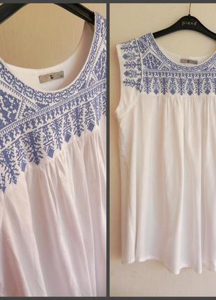 Натуральная туника,блузка со сборками и   вышивкой (см.замеры)