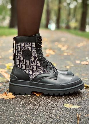 Женские кожаные осенние 🍂 ботинки/сапоги/ботильоны dior boots black черного цвета 😍